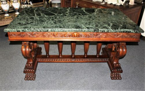 Antique Heavily Carved Walnut Renaissance Marble Top Library Table