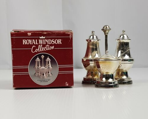 Vintage Boxed Silverplate Royal Windsor Collection Condiment Cruet Set on Stand