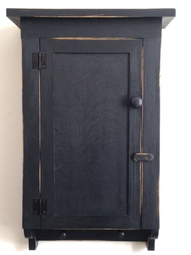 NEW!!  Handcrafted Primitive Country Rustic Distressed Black Bath/Wall Cabinet