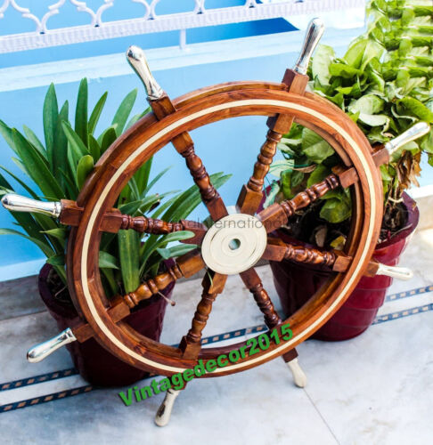 """Ship Steering Wheel Pirate Wooden 18"""" Nautical Decor Wood Brass Wall Boat Gift"""