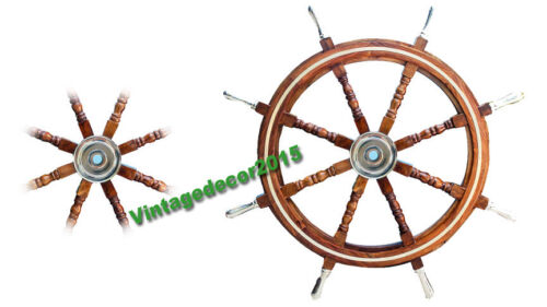 Vintage Nautical Brown Wooden Ship Wheel Boat Steering Wall Decor 24 Inches