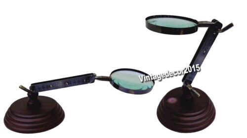 Nautical Adjustable Handmade Antique Magnifying Glass Desk Top Stand