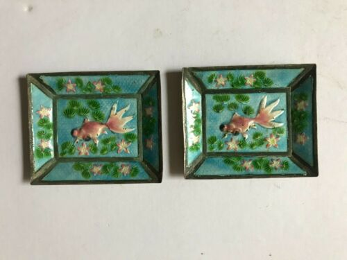 Pair Of Antique Chinese Export Silver Enameled Opium Dishes Goldfish Swimming