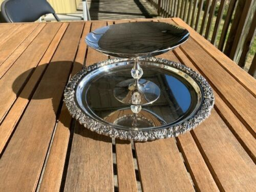 Vintage Heavy Silver Plated RODD HECWORTH Tray & stand c1960 engraved see below