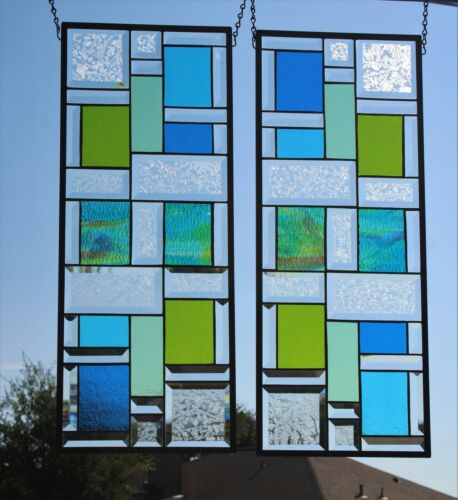 """Stained Glass window pair -matching set each -26 1/2"""" x 10 1/2"""" beveled"""