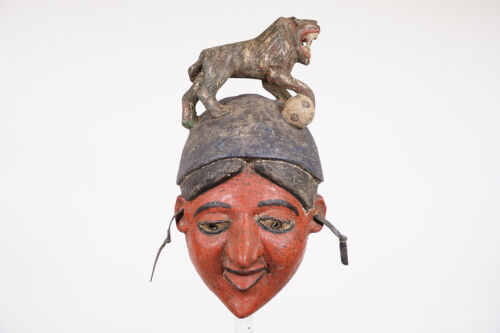 """Tiv Mask with Lion Superstructure 13.5"""" - Nigeria - African Art"""