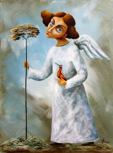ORIGINAL Oil Painting canvas CONTEMPORARY ART Vlad Pronkin 2021 ANGEL IN WHITE 2