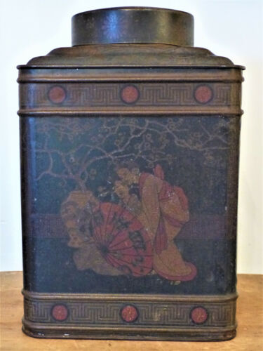 """Antique 19th C Tinware TEA COFFEE Tin CANNISTER Caddy LARGE 11""""X7"""" General Store"""
