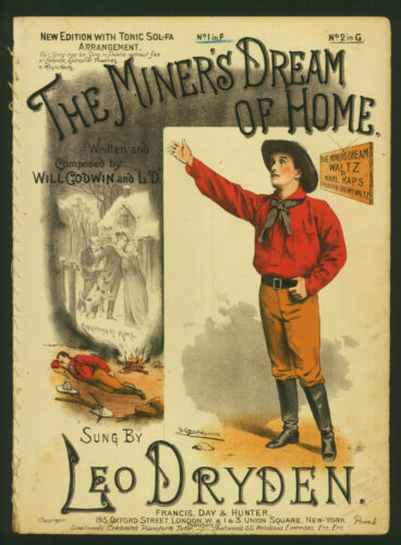 1891 ~#Sheet Music ~The Miner's Dream Of Home ~Gold Mining Song