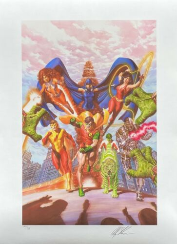 ALEX ROSS new TEEN TITANS TRIBUTE lithograph SIGNED AP9 Exclusive NYCC 2020 COA