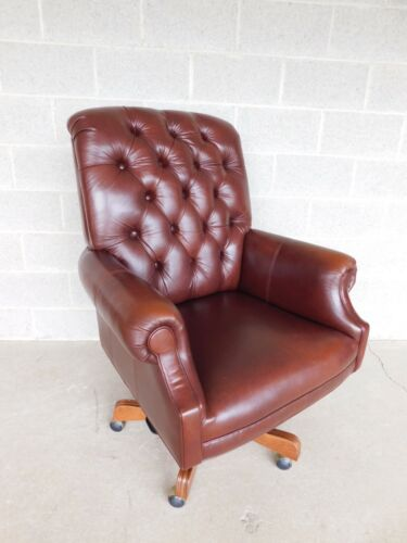 Ethan Allen Leather Tufted Back Executive Desk Chair