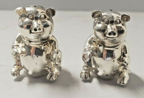 Tiffany & Co. Sterling Silver Pig Salt & Pepper Shakers w/  Gold Bows