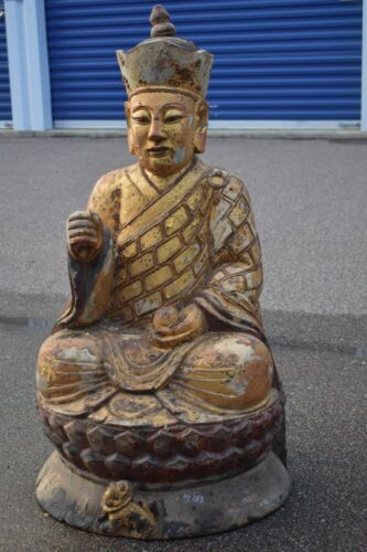 Large Antique Chinese Gilt Wooden Carved Statue / Sculpture of Buddha