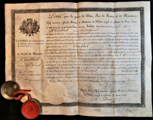KING LOUIS XVIII SIGNED KNIGHT'S CERTIFICATE OF THE ORDER OF SAINT LOUIS - 1823