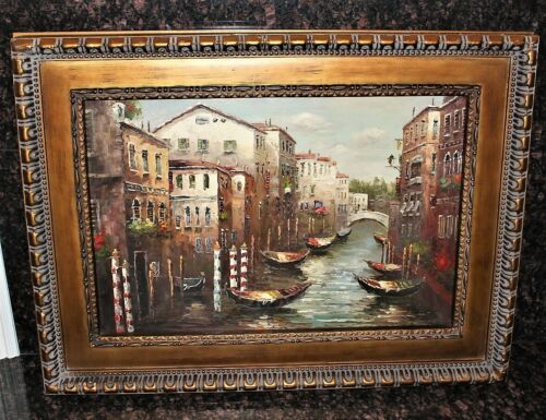 Venice Italy Canal Scene Framed Original Oil on Canvas Painting, Signed with COA