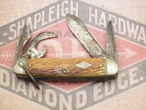Antique DIAMOND EDGE by Schrade Scout Utility Knife Peachseed Bone Handles