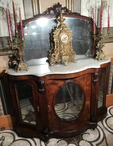 Antique 1840's Burl Walnut Credenza w/White Marble Top. 3 mirrored front doors