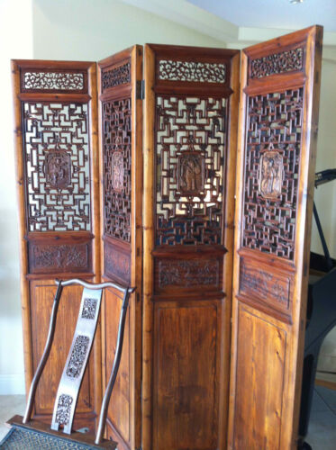 Chinese 4 Panel Screen Room Divider Authenticated QING PERIOD Wood PORTABLE