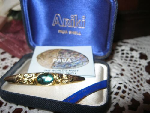 Gorgeous Boxed,Vintage Ariki Paua Shell,22Carat Gold Plate,Tie/Scarf Pin/Brooch.