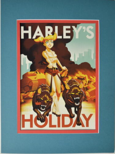 Batman Animated HARLEY'S HOLIDAY PRINT Pro MATTED Bruce Timm art Quinn