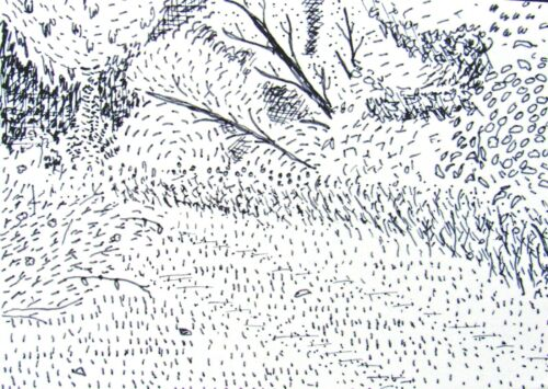 ACEO Original Drawing TRAIL IN THE WOODS folk abstract outsider art JEFF ZENICK