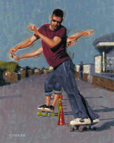 ORIGINAL OIL PAINTING, SKATEBOARDERS MAKING SOME SMOOTH MOVES, listed artist NR!