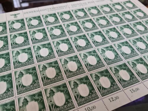 WW2 GENERAL GOVERENMENT STAMPS EAGLE SWASTICA SHEET OF 50 EMBOSSED