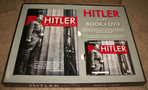 BEAUTIFUL BOXED SET UNUSED HITLER A LIFE BOOK & DVD ROBIN CROSS AWESOME CONTENT