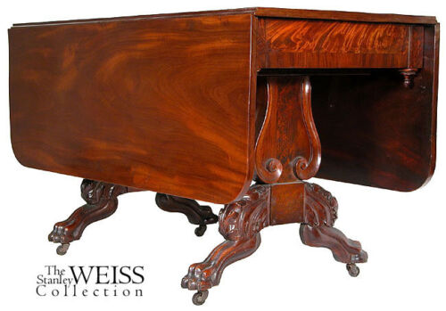 SWC-Carved Drop Leaf Table, Pierce, Boston, c.1830