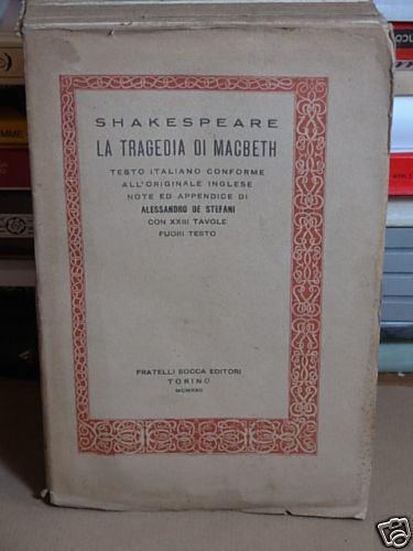TRAGEDIA DI MACBETH - ED. 1922 di W. SHAKESPEARE (GF2)