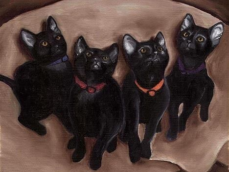 12x16 Black Kittens Cats Signed Cat Art PRINT of Original Oil Painting by VERN