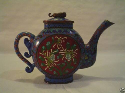 19th C. Chinese Cloisonne Enamel on Bronze Teapot, Meiji Period