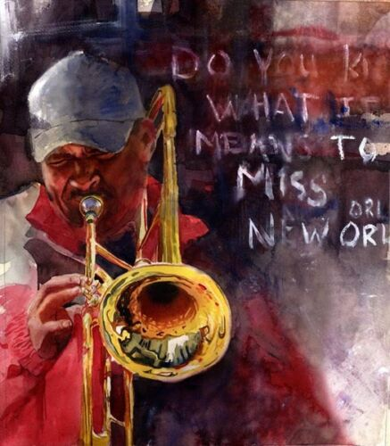 Giclee PRINT New Orleans Jazz Blues Black Man Painting Art Trombone Music