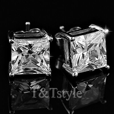 T&T 7mm Clear CZ Square Stud Earrings NEW ES07