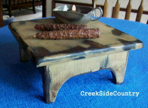 PRIMITIVE Wood Grungy Table Top Bench Stool - ANY COLOR