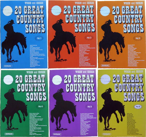 Great Country Songs Volumes 1 - 6 (Words and Chords) - New Product - Fast Shippi
