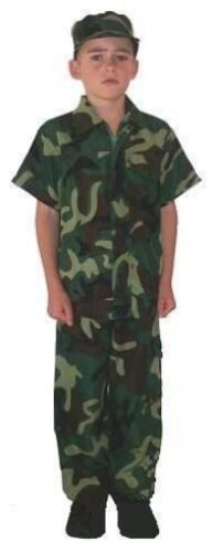 BOYS ARMY SOLDIER MILITARY CAMOUFLAGE CHILDS FANCY DRESS COSTUME
