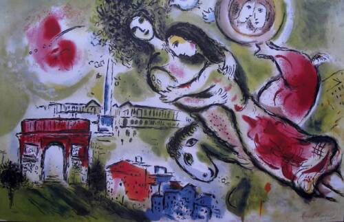 """MARC CHAGALL """"ROMEO & JULIET"""" Signed Limited Edition Lithograph Art"""