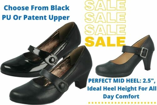 Ladies Faux Leather Low Block Heel Mary Jane Cabaret Work Slip On Court Shoes