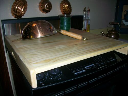 Sleek Look  wood  Stove Top Cover Fits Over Burners - natural finish