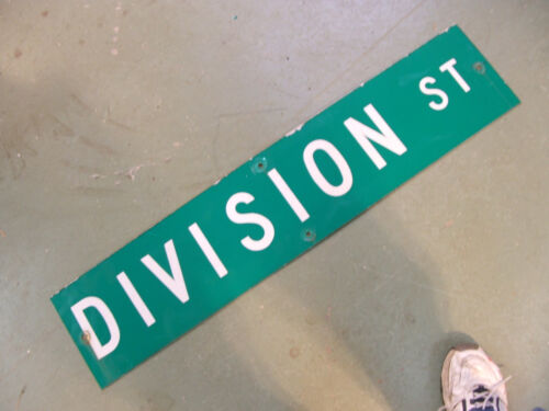 "Vintage ORIGINAL DIVISION ST STREET SIGN WHITE LETTERING ON GREEN 42"" X 9"""