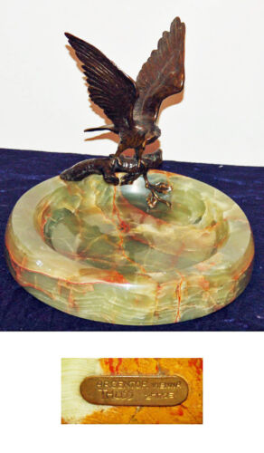 VIENNESE 19 C EAGLE BRONZE W/MARBLE BASE VANITY TRAY  SIGNED:ARGENTOR VIENNA