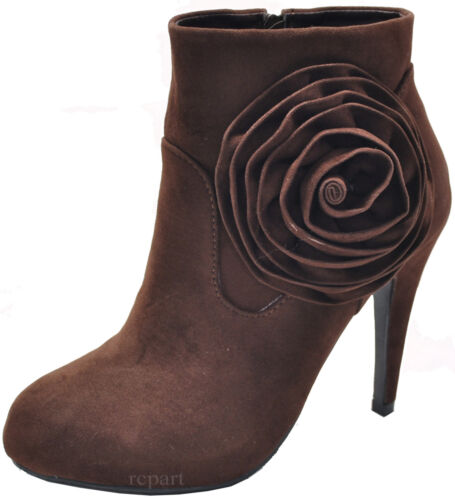 New women's ankle boots shoes suede like high heel side zipper flower brown