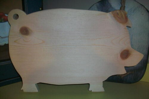 UNFINISHED Wood Large Pig Cutting  Bread Board  - unfinished