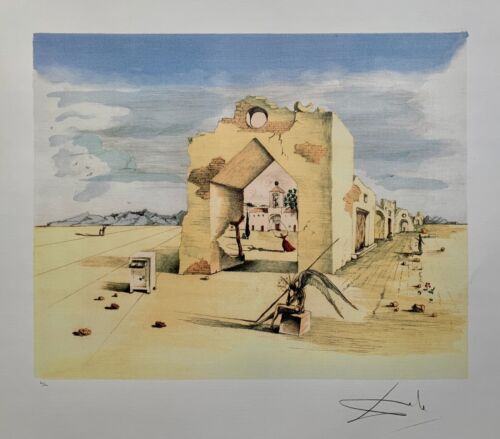Salvador Dali PARANOIC VILLAGE Signed Limited Edition Lithograph Art