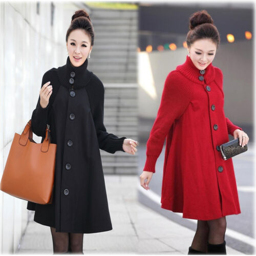 New Maternity Coat Jacket Poncho Cape Trench Knitted Sleeves 6 8 10 12 14 16 18