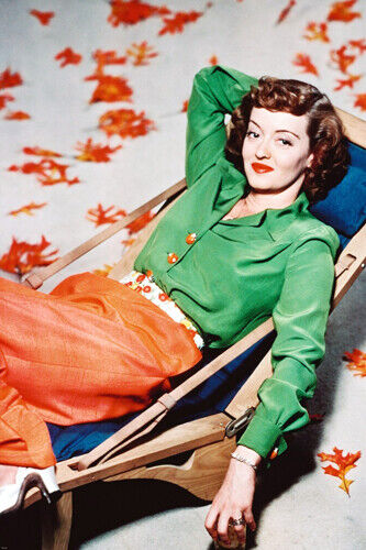 BETTE DAVIS PUBLICITY STILL poster lounging colorful DRAMATIC rare 24X36
