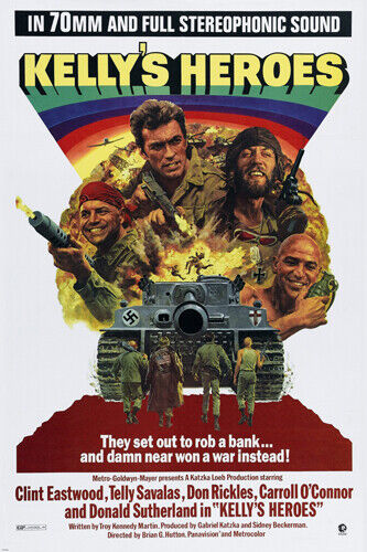 1970 KELLY'S HEROES movie poster EASTWOOD SUTHERLAND WW2 war comedy 24X36