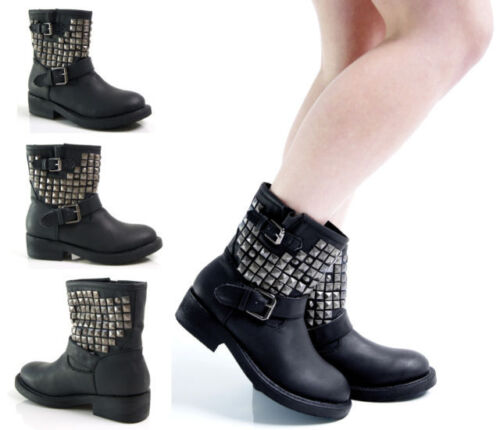 LADIES BIKER BIKER BOOTS STUD RIVET EMBELLISHED ANKLE HIGH BOOT SHOE SHOES SIZES