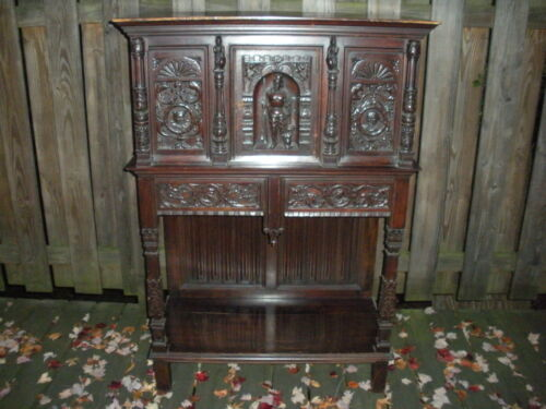 MAGNIFICENT ANTIQUE EUROPEAN WOOD CABINET/HUTCH FOR RESTORE LOCAL PICK UP ONLY